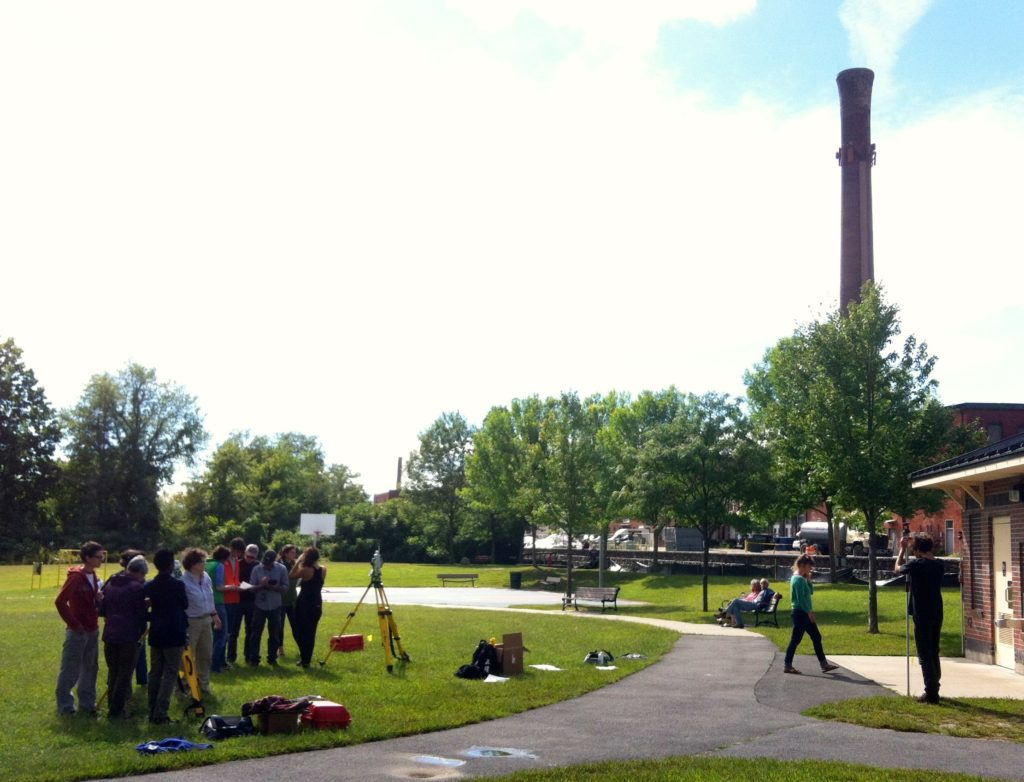 Surveying class in the park adjacent to Mill180.